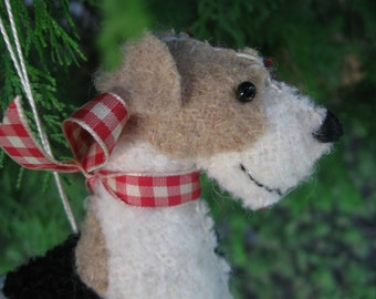 Wire Fox Terrier Wool Dog Friend / Ornament, Handsewn