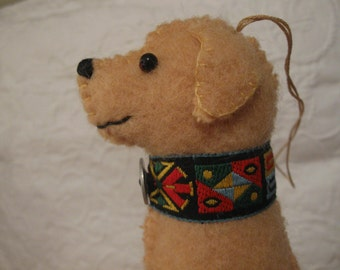 Yellow Labrador Retriever Ornament, Handsewn Vintage Wool