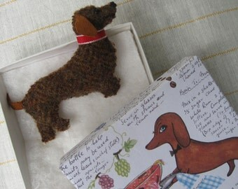 Dachshund Dog Pin Felted Wool Brooch in Doxie Gift Box