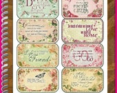 Cottage Chic Quotes Altoid Tin Covers and Insert Cards Digital Printable INSTANT DOWNLOAD