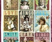 Altered Art Bingo Cards with Vintage Children for Tags or ATC INSTANT DOWNLOAD Digital Printable