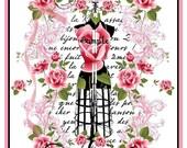 INSTANT DOWNLOAD Shabby Roses Paris Dressform Collage Journal Cover U-Print Digital