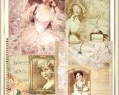 Artistic Attic Scrapbook Papers Set of 4 Vintage Collages Distressed Sepia Tones U-PRINT INSTANT DOWNLOAD