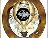 Altered Art Steampunk Advertising Tags/ Labels Victorian Script, Gears, Hot Air Balloon U-PRINT Digital Download
