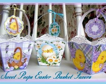 Sweet Peeps Easter Basket Favors Set - Digital  Printable INSTANT DOWNLOAD