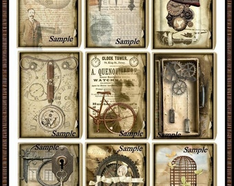 Altered Junque Art STEAMPUNK ATC Set - Digital Collages Instant Download Printable