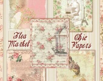 Flea Market Chic Shabby Vintage Victorian Background Papers Digital Printable INSTANT DOWNLOAD