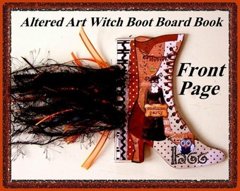 Altered Art Vintage Witch Diecut BOOT Mini Book Project with Directions Digital Printable INSTANT DOWNLOAD