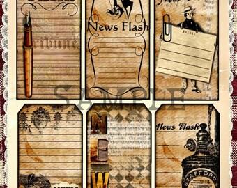 Distressed News Flash Vintage Journaling Tags U-Print Digital Printables  INSTANT DOWNLOAD