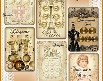 INSTANT DOWNLOAD Vintage Button Cards for Tags, Labels, Cardmaking, Scrapbooking U-PRINT Digital