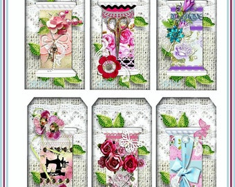 INSTANT DOWNLOAD Cottage Chic Thread Spool Tags Digital Shabby Digital U-PRINT Roses and Lace