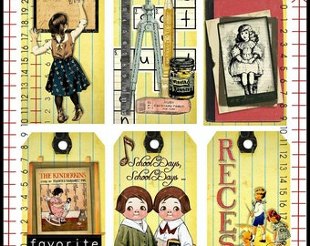 Vintage School Days Tags U-PRINT Digital INSTANT Download
