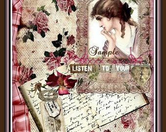 Listen to Your Heart Vintage Lady Collage Journal Cover Printable Digital INSTANT DOWNLOAD