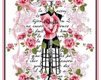 INSTANT DOWNLOAD Shabby Roses Paris Dressform Collage Journal Cover U-Print Digital