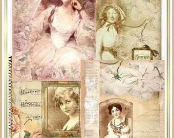 Artistic Attic Scrapbook Papers Set of 4 Vintage Collages Distressed Sepia Tones U-PRINT INSTANT DOWNLOAD