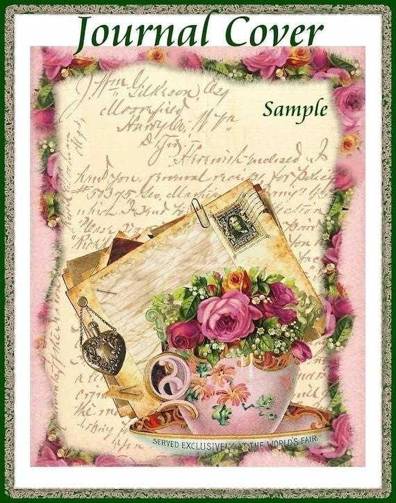 INSTANT DOWNLOAD Cottage Chic Tea Collage Journal Cover Digital Printables
