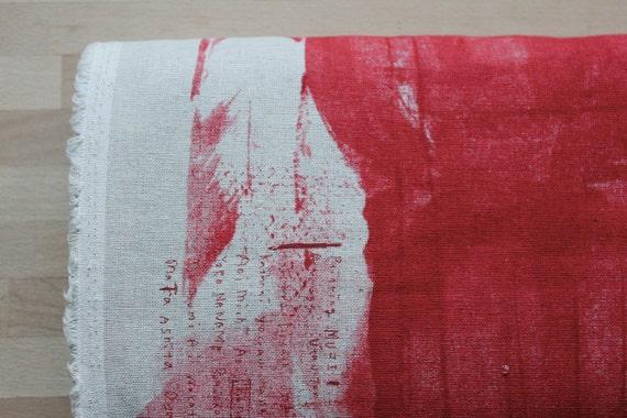 Nani Iro Japanese Fabric Painting Muji - red - linen blend