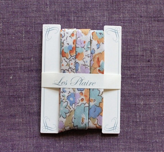 Cotton Lawn Les Plaire Floral Japanese Bias Tape - type A - orange