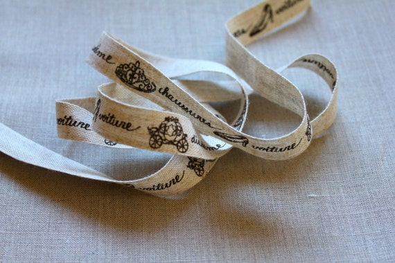 Kokka Trefle French Shoe, Carriage, Crown Japanese sewing tape - black, natural