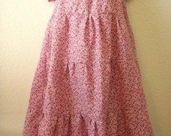 Girls Peasant  Style Pink Three Tiered Handmade Dress.