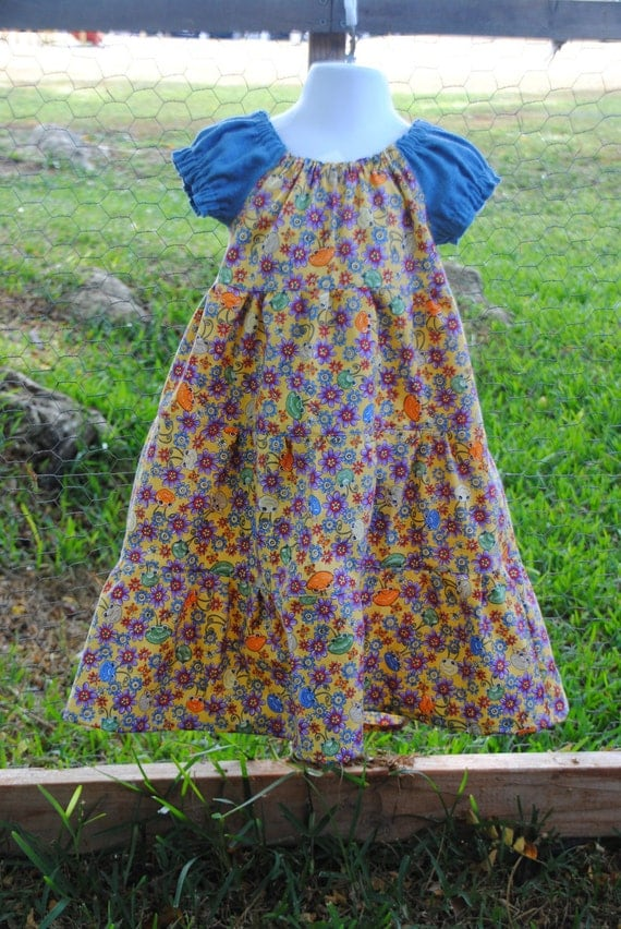 Girls Peasant Style Spring Time Three Tiered Handmade Dress 3T-4T
