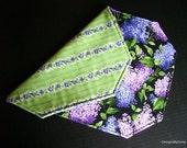 Quilted Placemats, Reversible, Set of 4, Realistic Purple Lilacs and Violets in a Stripe Pattern, Green Background, Handmade Table Linens