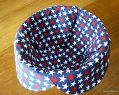 Basket Liner, Bread Cloth, Table Topper, Centerpiece, Patriotic, July 4th, Red and White Stars on a Navy Background, Handmade Table Linens