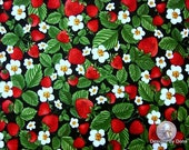 One Half Yard Cut Quilt Fabric, Strawberries, White Blossoms, Green Leaves on Black by Timeless Treasures, Sewing-Quilting-Craft Supplies