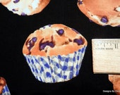 "One Half Yard Cut Quilt Fabric, Blueberry Muffins On A Black Background, ""Bake Sale"" from J Kanvas Studio, Sewing, Quilting, Craft Supplies"