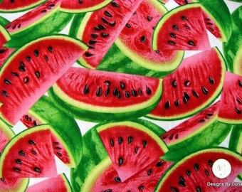 One Half Yard Cut Quilt Fabric, Red Juicy Watermelon Slices on White from Timeless Treasures, Sewing-Quilting-Craft Supplies