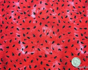One Half Yard Cut of Quilt Fabric, Red Ripe Juicy Watermelon and Seeds from Timeless Treasures, Quilting-Sewing-Craft Supplies