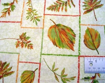 SALE, One Yard Cut Quilt Fabric, Autumn Ferns, Leaves in Green and Rust, Outlined in the Same Rust/Green, Sewing-Quilting-Craft Supplies