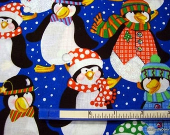 One Fat Quarter Cut Quilt Fabric, Cute Penguins Dressed in Winter Hats, Scarves, Bow Ties, Vests on Royal Blue, Sewing-Quilting Supplies