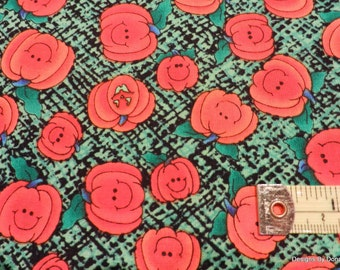 "One Yard Cut, ""Halloween"" Quilt Fabric, Cute Bright Orange Pumpkins on Green & Black by Grandma's Attic for SSI Fabric, Sewing Supplies"