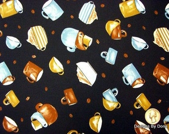 One Fat Quarter Cut Quilt Fabric Coffee Coffee Cups