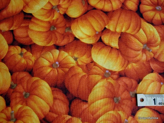 SALE, Last 17 Inches of Quilting Fabric, Orange Pumpkins, All Over Pattern from RJR Fabrics, Harvest Time, Fall, Supplies
