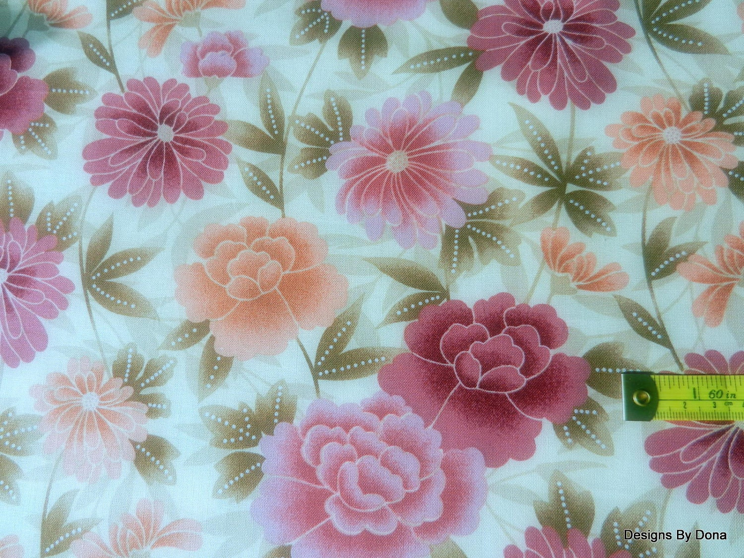 Clearance sale one yard cut of quilt fabric pink burgundy for Quilting fabric sale