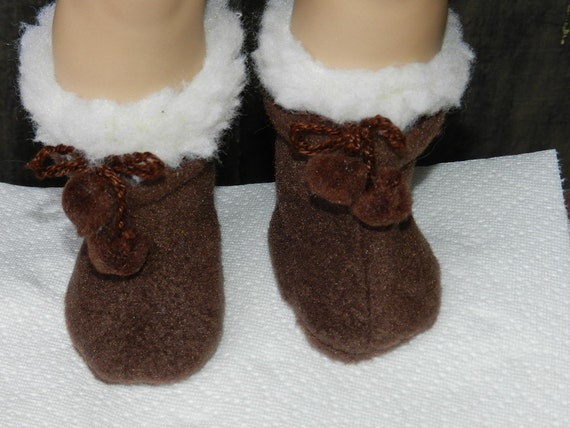 Dark Brown Fleece Boots Fit for American Girl Doll has Wooly Cuff and PomPom Laces