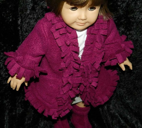 American Girl doll clothes COAT with BOOTS and fringe extra special