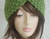 hand knit turban headband headwrap half hat green grass Woolblend