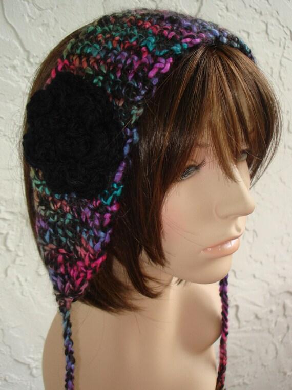 Headband Earwarmer in  Alpaca Blend Wide Multicolored