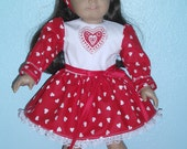 "Valentines Day Dress for American Girl dolls or Vintage Chatty Cathy  or 12-18 "" dolls"