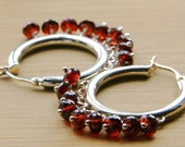 Red Garnet and Sterling Silver Hoop Earrings