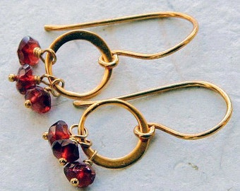 Garnet and 24k Gold Plated Circle Earrings