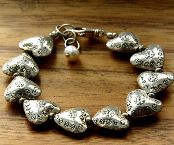 Fine Silver Heart Bracelet with Stamped Flowers