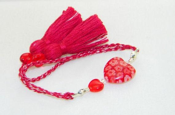 Red millefiori heart corded handmade scissor fob