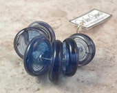 WG - SAPPHIRE MIST - set of 6 lampwork disk beads