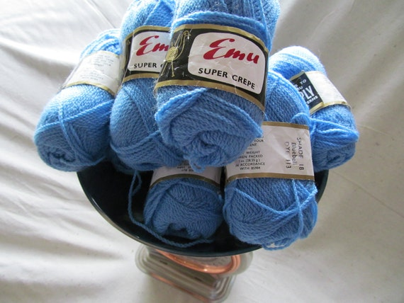 Crocheting Yarn For Sale : SALE - Emu Super Crepe blue yarn - 9 balls - for knitting, crochet or ...