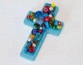 Beaded Cross Magnet