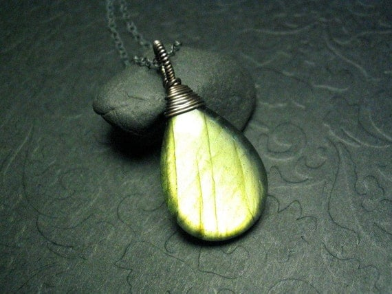 Gold Green Labradorite Pendant on Oxidized Sterling Silver 18 inch Necklace